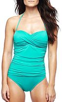JCPenney a.n.a® Twist Bandeau One-Piece Swimsuit