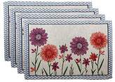 Purple and Red Flower Placemats - Set of 4 - 13 x 19 Inches