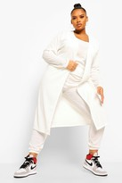 Thumbnail for your product : boohoo Plus Rib Jogger And Cardigan 3 Piece Co-ord