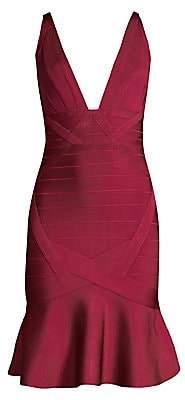 Herve Leger Women's Basics Flounce Hem Bandage Cocktail Dress