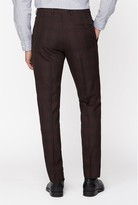 Jeff Banks Jeff Banks Bold Check Brit Suit Trousers In Suer Slim Fit - Burgundy
