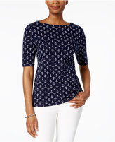 Charter Club Petite Cotton Anchor-Print Top, Created for Macy's