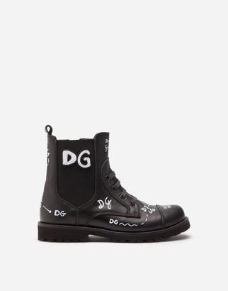 Dolce & Gabbana Calfskin Combat Boots With Logo Print