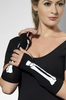 Fever Gloves Skeleton Fingerless, Black/White
