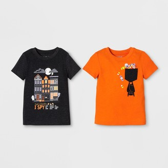 Cat & Jack Toddler Boys' 2pk Graphic Short Sleeve T-Shirt - Cat & JackTM Orange/Black 12M