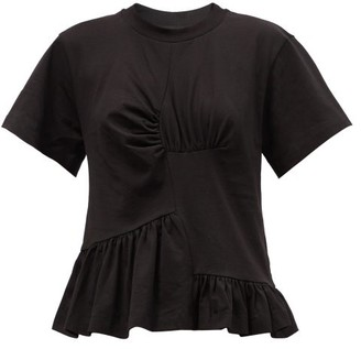 Marques Almeida Peplum Organic And Recycled-cotton Jersey T-shirt - Black