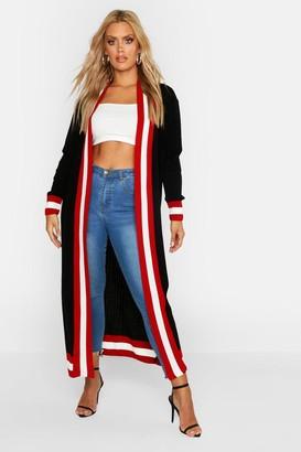 boohoo Plus Stripe Maxi Length Cardigan