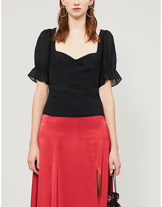 Reformation Delevan puffed-sleeve crepe blouse