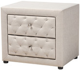 Baxton Studio Esmee Contemporary Fabric 2-Drawer Wood Nightstand, Light Beige