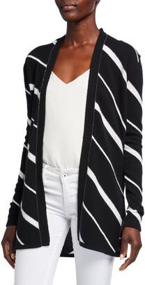 Neiman Marcus Diagonal Striped Cashmere Cardigan w/ Chain Trim