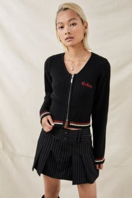 Kickers Ribbed Zip Cardigan - Black S at Urban Outfitters