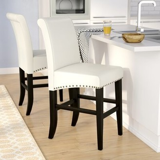 "Alcott Hill Shaws Bar & Counter Stool Seat Height: Counter Stool (25"" Seat Height), Upholstery: Ivory"