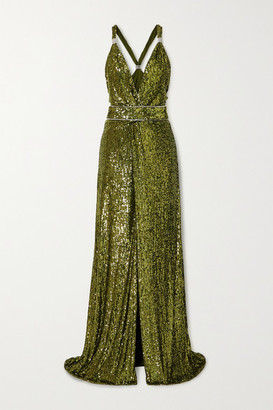 Dundas Crystal-embellished Sequined Jersey Gown - Green
