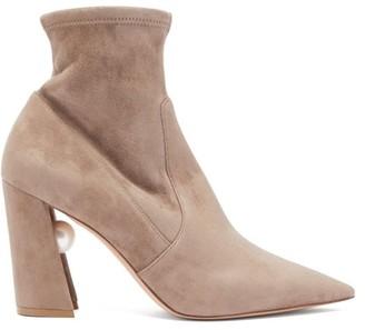 Nicholas Kirkwood Miri Faux Pearl-embellished Suede Sock Boots - Nude