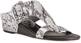 Donald J Pliner Ofelia Pearlized Python-Print Buckle Wedge Thong Sandals