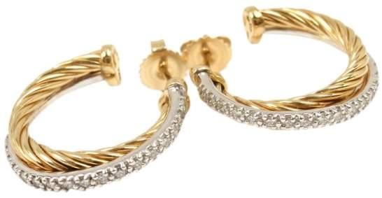 David Yurman 18K Yellow & White Gold 0.68ct Diamond Crossover Hoop Earrings