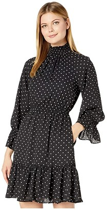 Donna Morgan Long Smocked Sleeve Georgette Fit-and-Flare High Neck Dress (Black/White) Women's Dress