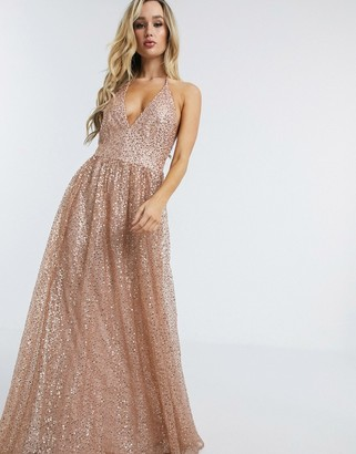 Goddiva plunge glitter cami maxi dress in metallic blush