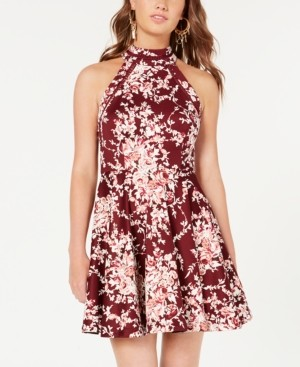 B. Darlin Juniors' Printed Mock-Neck Crochet-Trim Fit & Flare Dress