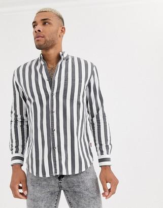 Bershka striped shirt in gray and white