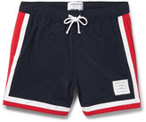 Thom Browne Mid-Length Stripe-Trimmed Swim Shorts