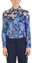 Miu Miu Women's Cotton Long Sleeve Floral Print Blouse Blue.