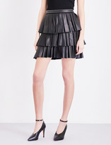 Claudie Pierlot Seattle ruffled leather mini skirt