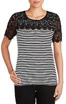 Allison Daley Wide Crew-Neck Lace Yolk & Sleeve Trim Stripe Jersey Top