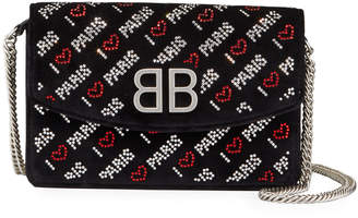 "Balenciaga BB ""I Love Paris"" Embroidered Wallet On Chain"