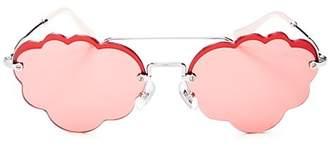Miu Miu Women's Brow Bar Scalloped Round Sunglasses, 55mm