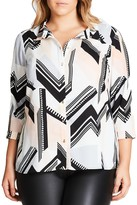 City Chic Jagged Stripe Shirt