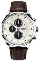 Sekonda 1177.00 Chronograph Date Leather Strap Watch, Dark Brown/cream
