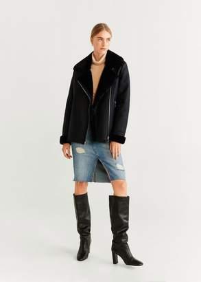 MANGO Faux fur biker jacket black - XXS - Women
