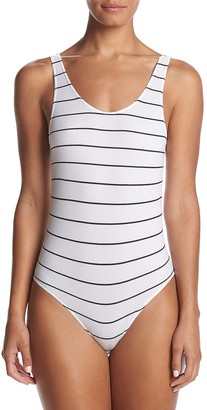 DKNY Women's Seamless Litewear Scoop Neck Rib Bodysuit with Snap Closure