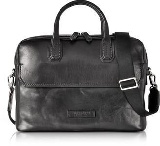 The Bridge Williamsburg Black Leather Medium Briefcase w/Shoulder Strap