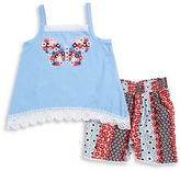 Flapdoodles Girls 2-6x Girls Butterfly Tank and Floral Shorts Set
