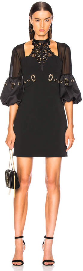 Self-Portrait Self Portrait Lace Halter Mini Dress in Black | FWRD