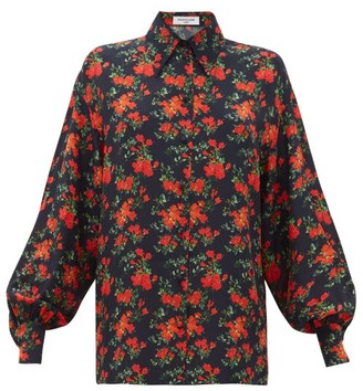 Françoise Francoise - Floral-print Balloon-sleeve Silk Shirt - Womens - Navy Multi