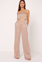 Missguided Satin Wide Leg Trousers Nude
