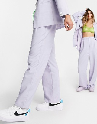 ASOS DESIGN CIRCULAR unisex suit pants in lilac