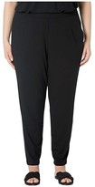 Eileen Fisher Plus Size Vicose Jersey Slim Ankle Slouchy Pants (Black) Women's Casual Pants