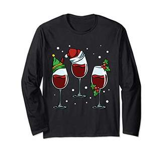 Merry Christmas Wine Lover Red White Alcoholic Drink Grapes Long Sleeve T-Shirt