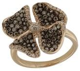 Effy Jewelry 14K Rose Gold Cognac and White Diamond Flower Ring
