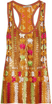Etro Embroidered Sequined Silk-chiffon Top - Orange