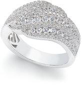 Arabella Swarovski Zirconia Diagonal Cluster Statement Ring in Sterling Silver