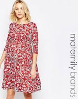 Mama Licious Mama.licious Mamalicious Floral Printed Jersey Skater Dress