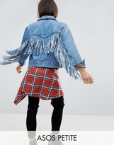 Asos Denim Jacket In Midwash Blue With Fringed Back