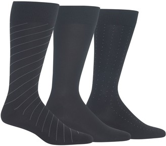 Chaps Men's 3-Pack Diagonal Stripe Dress Crew Socks