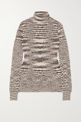Missoni Striped Wool Crochet-knit Turtleneck Sweater - Gray