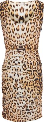 Roberto Cavalli Ruched Leopard-print Stretch-jersey Mini Dress